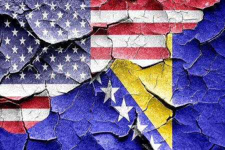 herzegovina: Grunge Bosnia and Herzegovina flag combined with american flag