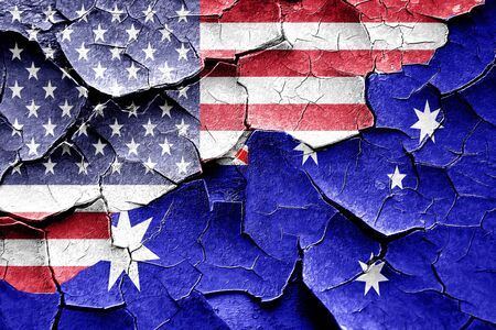 vintage wall: Grunge Australia flag combined with american flag Stock Photo