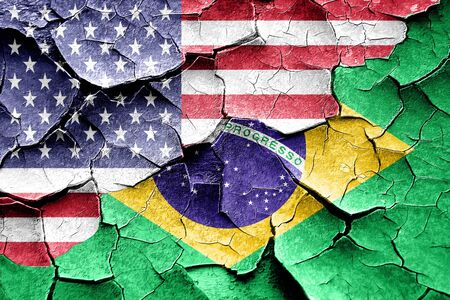 brasil: Grunge Brasil flag combined with american flag