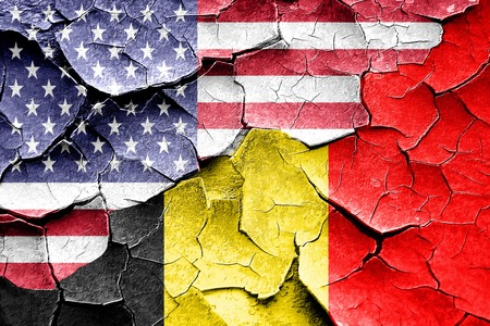 Grunge Belgium flag combined with american flag
