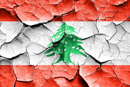 broken unity: Grunge Lebanon flag with some cracks and vintage look Stock Photo