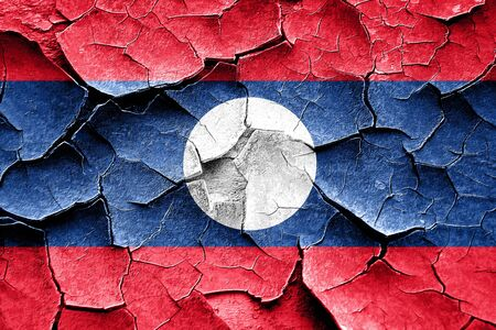 vintage look: Grunge Laos flag with some cracks and vintage look Stock Photo