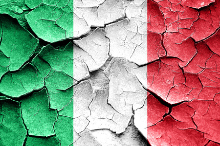 vintage look: Grunge Italy flag with some cracks and vintage look