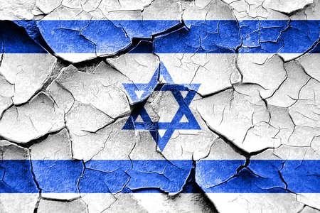 cracks: Grunge israel  flag with some cracks and vintage look