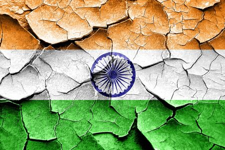 vintage look: Grunge India flag with some cracks and vintage look Stock Photo