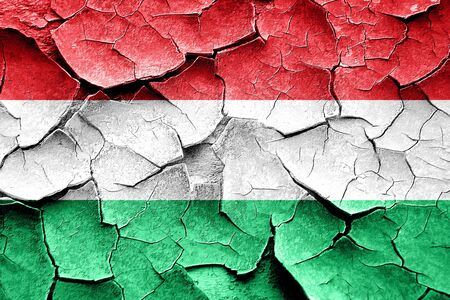 vintage look: Grunge Hungary flag with some cracks and vintage look