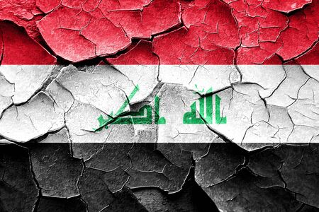 vintage look: Grunge Iraq flag with some cracks and vintage look