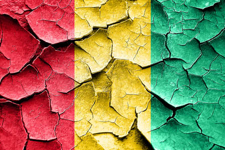 broken unity: Grunge Guinea flag with some cracks and vintage look Stock Photo