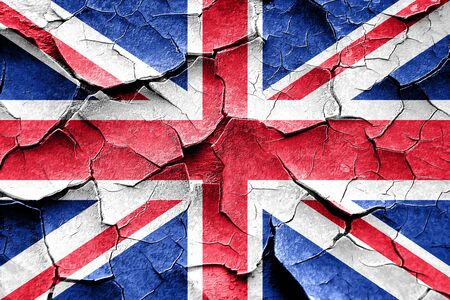 british culture: Grunge Great britain flag with some cracks and vintage look
