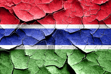 cracks: Grunge Gambia flag with some cracks and vintage look Stock Photo