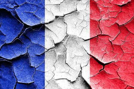 Grunge France flag with some cracks and vintage look