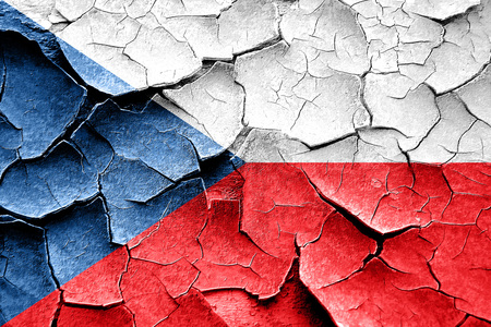 cracks: Grunge Czech flag with some cracks and vintage look