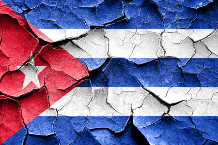 broken unity: Grunge Cuba flag with some cracks and vintage look
