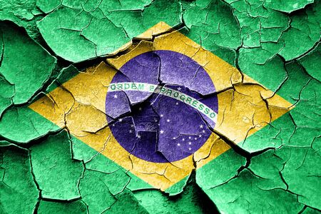 brasil: Grunge Brasil flag with some cracks and vintage look Stock Photo