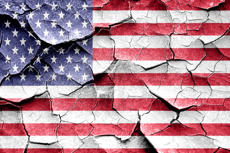 broken unity: Grunge America flag with some cracks and vintage look Stock Photo