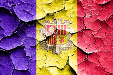 cracks: Grunge Andorra flag with some cracks and vintage look Stock Photo