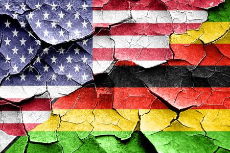 zimbabwe: Grunge Zimbabwe flag combined with american flag Stock Photo