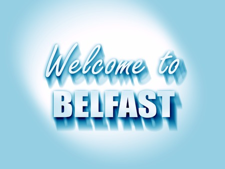 belfast: Welcome to belfast with some smooth lines Stock Photo