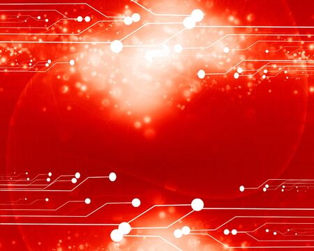 electronic background: Red computer circuit with some soft highlights