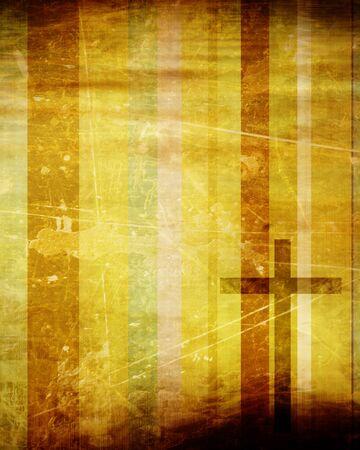 일부 부드러운 선으로 종이 배경에 기독교 십자가