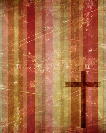 catholicism: Christian cross on paper background with some soft lines