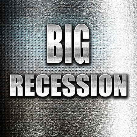 recession: Grunge metal Recession sign background with some smooth lines