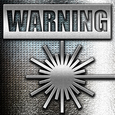 lazer: Grunge metal Laser warning sign with some soft spots and highlights