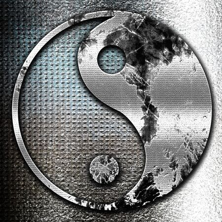 yinyang: Grunge metal Ying yang symbol with some soft smooth lines