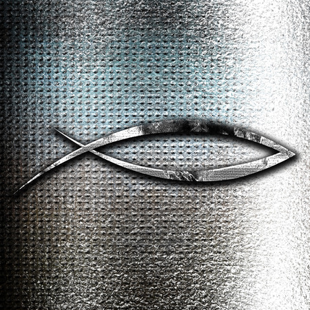 grunge metal: Grunge metal Christian fish symbol with some soft smooth lines Stock Photo