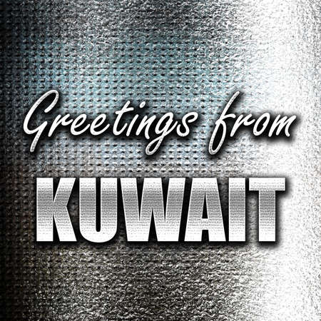 grunge metal: Grunge metal Greetings from kuwait card with some soft highlights Stock Photo