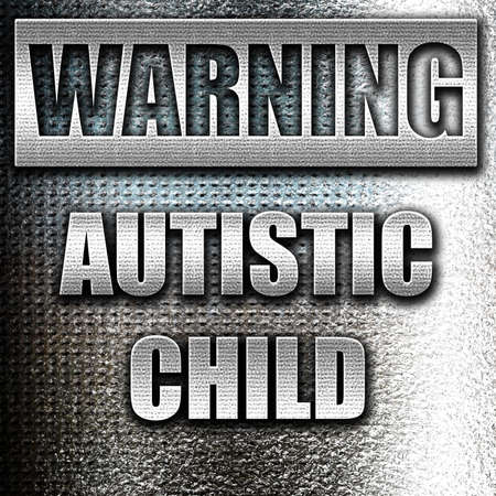 autistic: Grunge metal Autistic child sign with orange and black colors