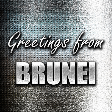 grunge metal: Grunge metal Greetings from brunei card with some soft highlights