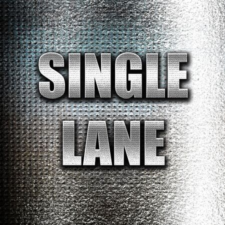 one lane road sign: Grunge metal Single lane sign with yellow and black colors