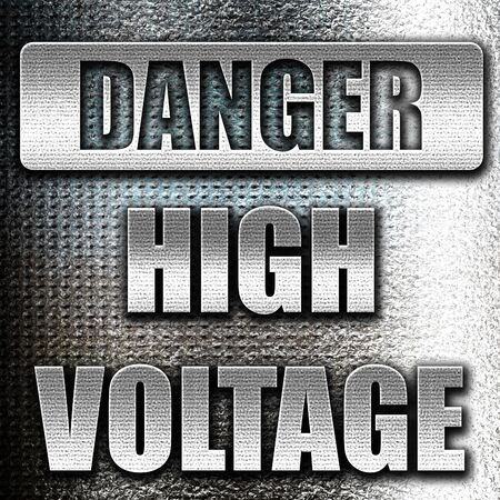 high voltage sign: Grunge metal high voltage sign with some soft smooth lines