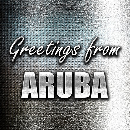 grunge metal: Grunge metal Greetings from aruba card with some soft highlights