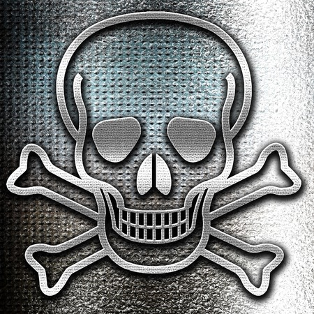 poison sign: Grunge metal Poison sign background with some soft scratches and dents Stock Photo