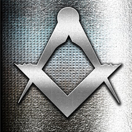 secret society: Grunge metal Masonic freemasonry symbol with some soft smooth lines Stock Photo