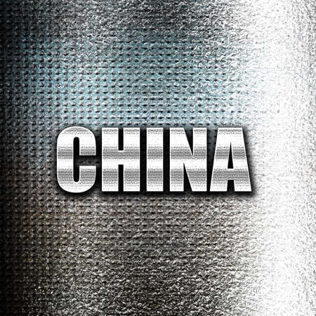 grunge metal: Grunge metal Greetings from china card with some soft highlights
