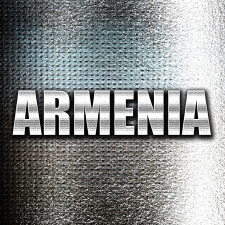 grunge metal: Grunge metal Greetings from armenia card with some soft highlights