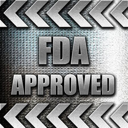 fda: Grunge metal FDA approved background with some smooth lines Stock Photo