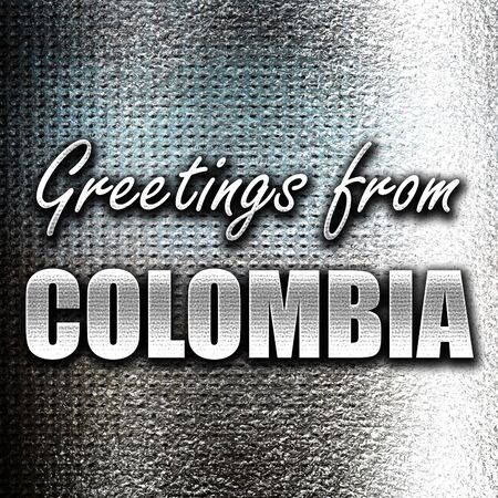 grunge metal: Grunge metal Greetings from colombia card with some soft highlights Stock Photo