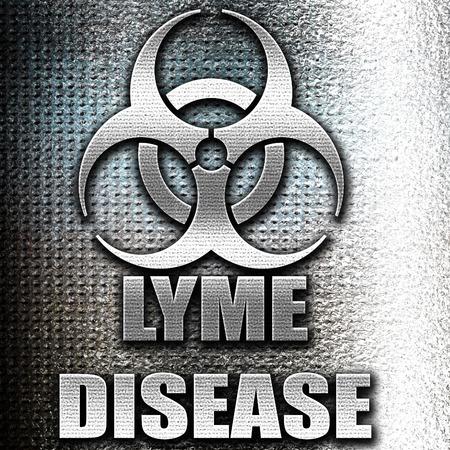 lyme: Grunge metal Lyme virus concept background with some soft smooth lines Stock Photo