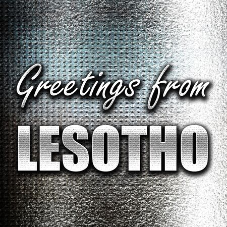 lesotho: Grunge metal Greetings from lesotho card with some soft highlights Stock Photo