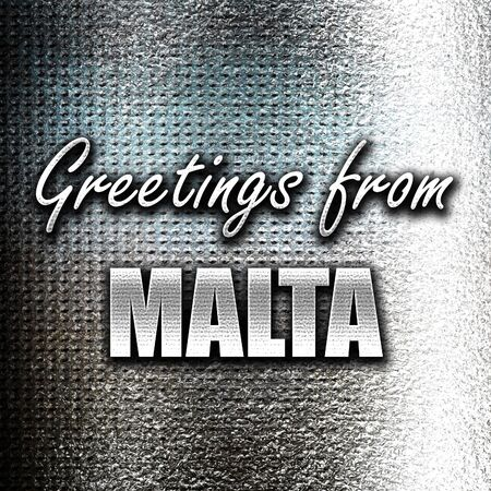 grunge metal: Grunge metal Greetings from malta card with some soft highlights