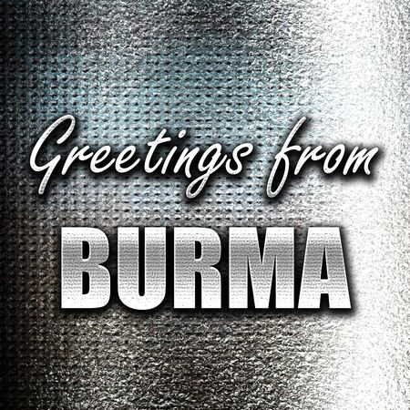 grunge metal: Grunge metal Greetings from burma card with some soft highlights
