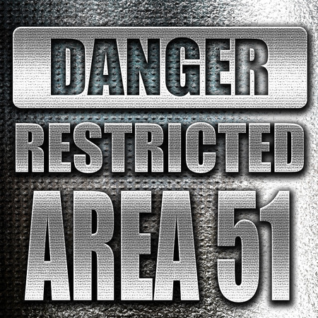 area 51: Grunge metal area 51 sign with some soft flowing lines