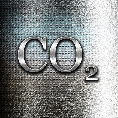 side effect: Grunge metal CO2 warning sign with yellow and black colors Stock Photo
