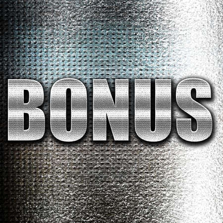 grunge metal: Grunge metal Bonus sign with smooth lines and soft highlights
