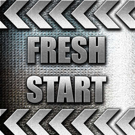 reformation: Grunge metal Fresh start sign with some smooth lines and highlights