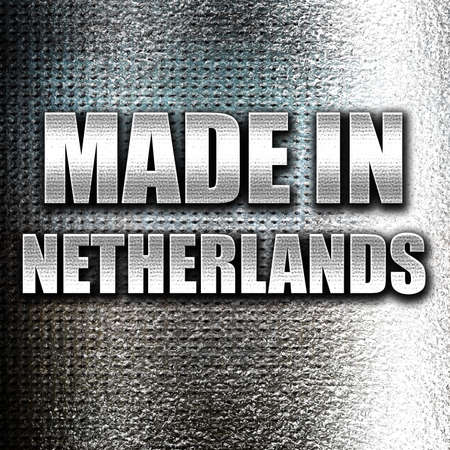 commerce and industry: Grunge metal Made in the netherlands with some soft smooth lines Stock Photo